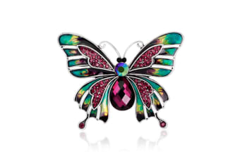 Hand Painted Enamel Colorful Butterfly Purple Crystal Brooch Pin Lapel Pin   D00154
