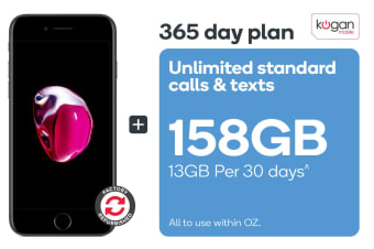 Apple iPhone 7 Plus Refurbished (128GB, Black) + Kogan Mobile Prepaid Voucher Code: MEDIUM (365 Days | 13GB Per 30 Days)