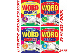 24 x A4 Large Print WordSearch Puzzle Books Words Find Fun Game (60 Puzzles/Book