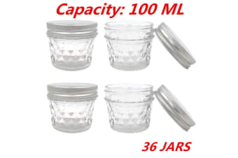 36 x SMALL 100ML QUILTED CONSERVE JAM CANDLE MAKING GLASS JARS JAR CANDY PARTY