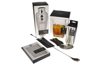 Viski Stainless Steel Cocktail Shaker Set With Hip Flask