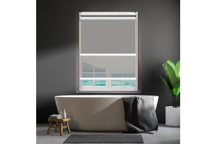 Modern Day/Night Double Roller Blind Commercial Quality 60-240cm(W) 210cm(D) NEW  -  60(W)x210(D)cm--Coffee (black)