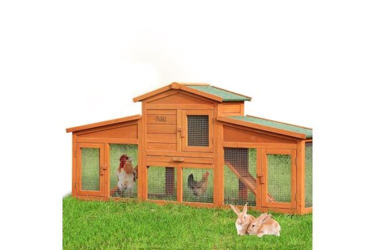 Dual-Use Wooden Rabbit Hutch Chicken Coop with Double Run