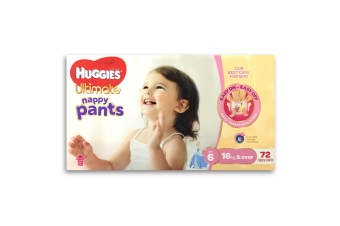 72pc Huggies Ultimate Nappy Pants Girls 16kg & Over Size 6