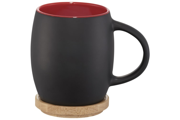 Avenue Hearth Ceramic Mug With Wood Lid/Coaster (Pack of 2) (Solid Black/Red) (10.4 x 7.5 cm)