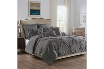 Royal Comfort 7 Pc Soft Microfiber Fitted Pleat Comforter Case Blanket Bed Set - Double - Charcoal