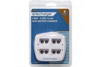Enecharger 100-240VAC input Smart Charger suits up to 4 x Lithium Ion 9V size batteries