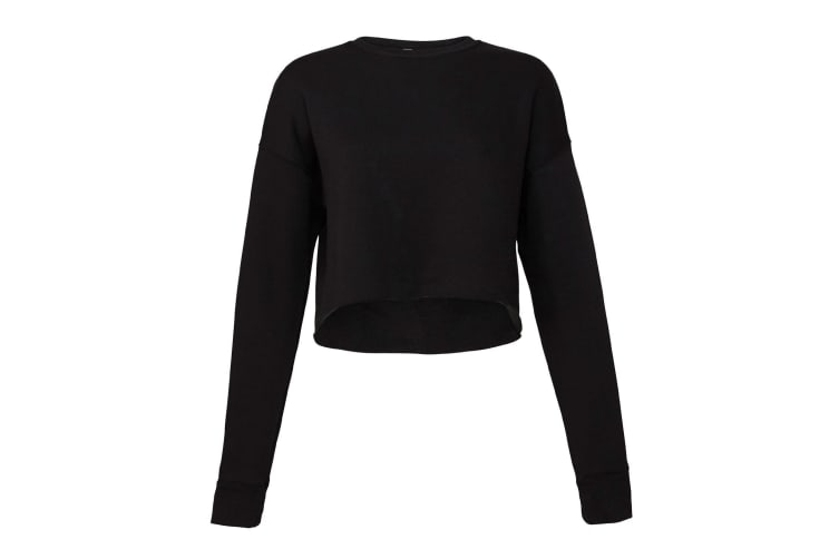 Bella + Canvas Womens/Ladies Cropped Crew Fleece Top (Black) (XL)