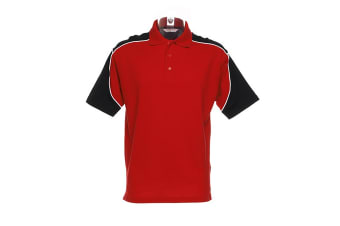 Formula Racing® Monaco Mens Short Sleeve Polo Shirt (Red/Black/White) (S)