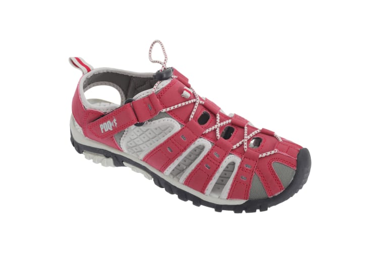 PDQ Womens/Ladies Toggle & Touch Fastening Sports Sandals (Red/Grey) (7 UK)