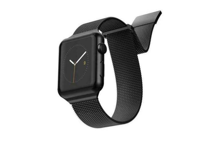 X-Doria Stainless Steel Mesh Wrist Band Strap For 44mm-42mm Apple iWatch Black