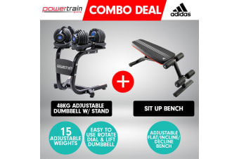 2x Powertrain 24kg Blue Adjustable Dumbbells w/ Stand and Adidas Bench
