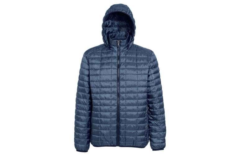 2786 Mens Honeycomb Padded Hooded Jacket (Steel) (XS)