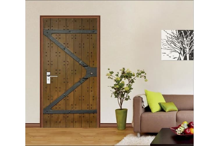 3D Gate Nailed Planks Door Mural Woven paper (need glue), XL 205cm x 80cm (HxW)(81''x31'')