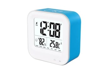 TODO Rechargeable Smart Lcd Alarm Clock Portable 600Mah Li-Ion Battery Time Temp - Blue
