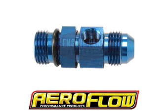 "Aeroflow -8Orb To -8AN With 1/8"" Port Blue"