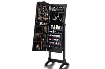 Mirror Jewellery Cabinet Storage Organiser Box Makeup with Drawer 2 Way Stand AU  -  Black (without LED Light)