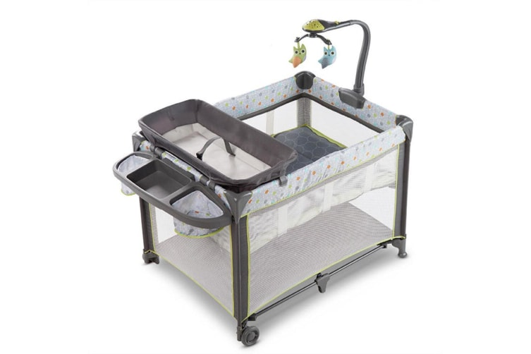 Ingenuity Marlo Baby/Infant Portable Travel Cot/Bed w/ Nappy Changing Table/Toys