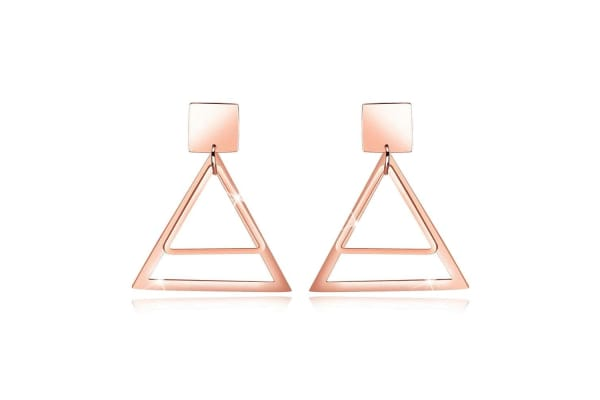 Double Triangle Earrings-Rose Gold