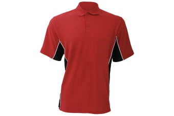Gamegear® Mens Track Pique Short Sleeve Polo Shirt Top (Red/Black/White)