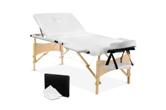 Portable Wooden 3 Fold Massage Table Chair Bed (White) 70 cm