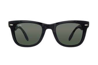Ray-Ban RB4105 FOLDING WAYFARER - Crystal Black (Green lens) / 54--22--140 Unisex Sunglasses