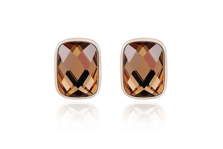 Aolly Gold Plated  Orange CZ Middle Oblong Rose Gold  Stud Earring   G00204