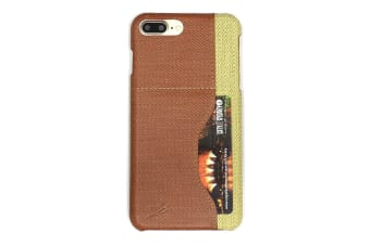For iPhone 8 PLUS 7 PLUS Case Elegant Woven Pattern Durable Leather Cover Brown