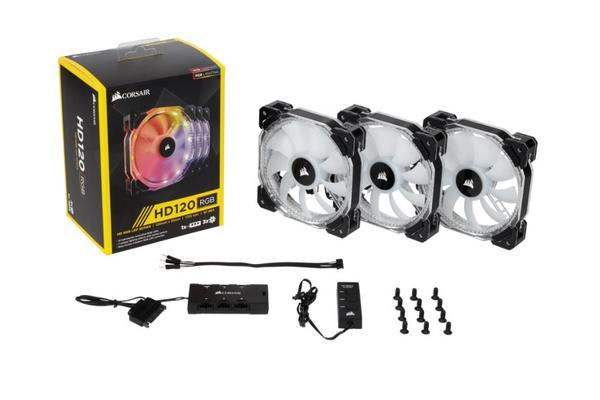 Corsair HD 120mm PWM RGB LED Fan 3 PACK  with Controller