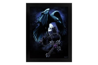 Requiem Collective Sacred Raven Wooden Framed Print (Black)