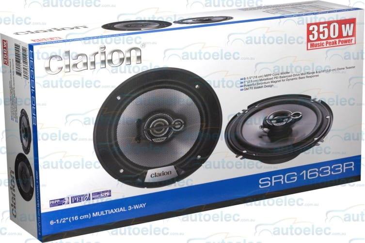 "CLARION SRG1633R 350W CAR AUDIO STEREO SYSTEM SPEAKERS PAIR 160CM 61/2"" 3-WAY"