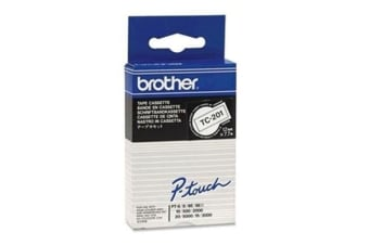 Brother genuine TC201 12MM BLK ON WHT TAPE