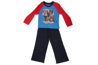 Marvel Childrens Boys Guardians Of The Galaxy Long Sleeve Top And Bottoms Pyjama Set (Blue/Red)