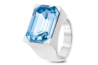 Clio Cocktail Ring Blue Embellished with Swarovski crystals  Size US 7