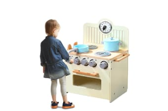 BoPeep Kids Wooden Kitchen Pretend Play Set Cooking Toys Toddlers Home Cookware  -  A