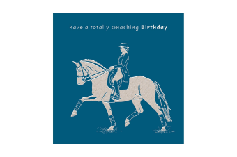 Deckled Edge Colour Block Pony Greetings Card (Smashing Birthday - Horse and Rider (Dark Blue))