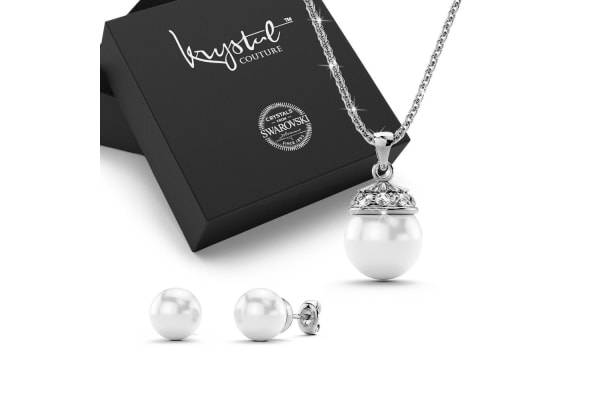 Bridal Necklace & Earrings Set w/Swarovski Crystals-White Gold/Pearl White