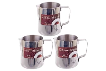 3x Casa Barista 600ml Stainless Steel Milk Coffee Latte Frothing Cup Pitcher Jug