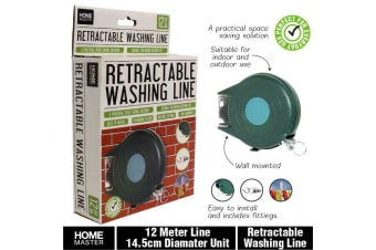 Retractable Clothes Airer Washing Line Laundry Wall Mount Dry Indoor/Outdoor