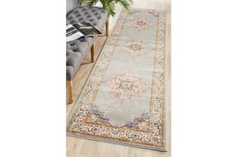 Grey & Multi Oriental Vintage Look Runner 400X80cm