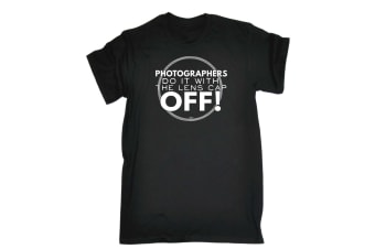 123T Funny Tee - Photographers Do It With The Lens Cap Off - (Small Black Mens T Shirt)