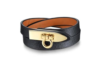 Genuine Cow Leather Wrap Bracelet With 18K Gold Buckle 1-Leather/Black