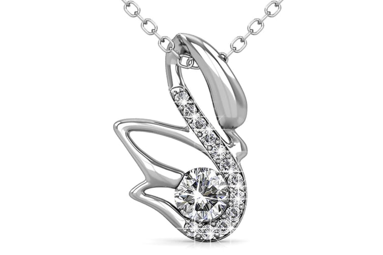 Glittery Swan Necklace Embellished with Swarovski crystals