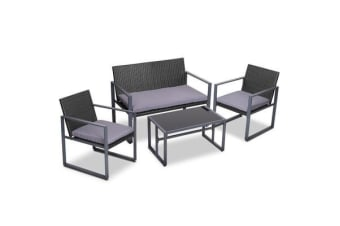 Gardeon 4pc Patio Furniture Set Outdoor Furniture Wicker Garden Lawn Sofa Seat Black