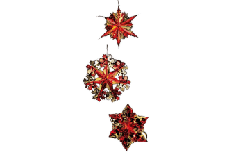 Premier Foil Starbursts Christmas Decorations (Pack of 3) (Red/Gold)