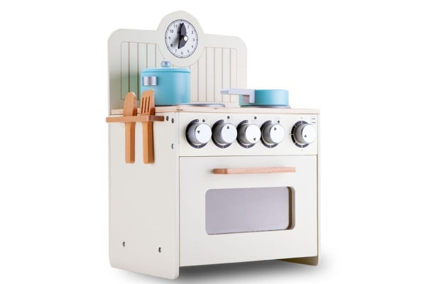 Smith Rovo Kids Retro Wooden Kitchen Toy Pretend Play Set Children Wood Oven Toddlers Playsets Toys