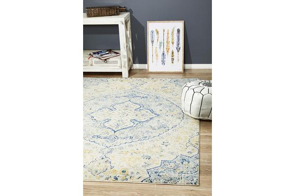 Hazel Yellow & Navy Durable Vintage Look Rug 230x160cm