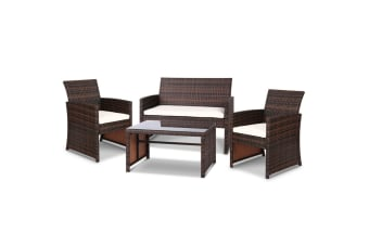 Garden Furniture Outdoor Lounge Setting Wicker Sofa Set Patio Brown