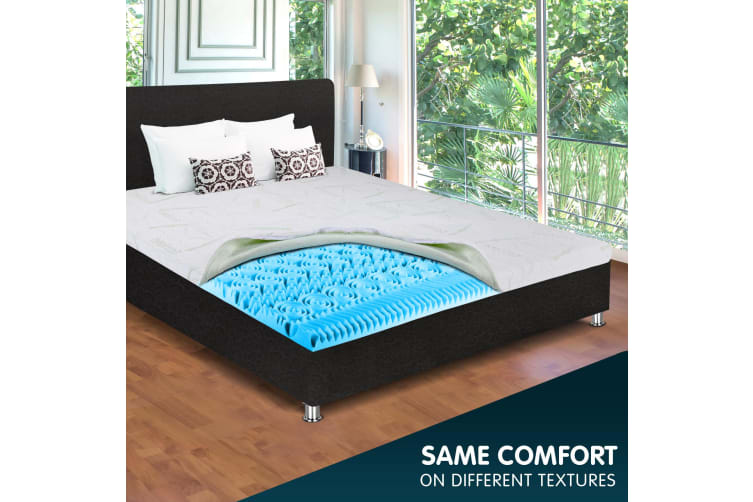 COOL GEL Memory Foam Mattress Topper Bed Double BAMBOO Fabric Cover *10 Zone 5CM