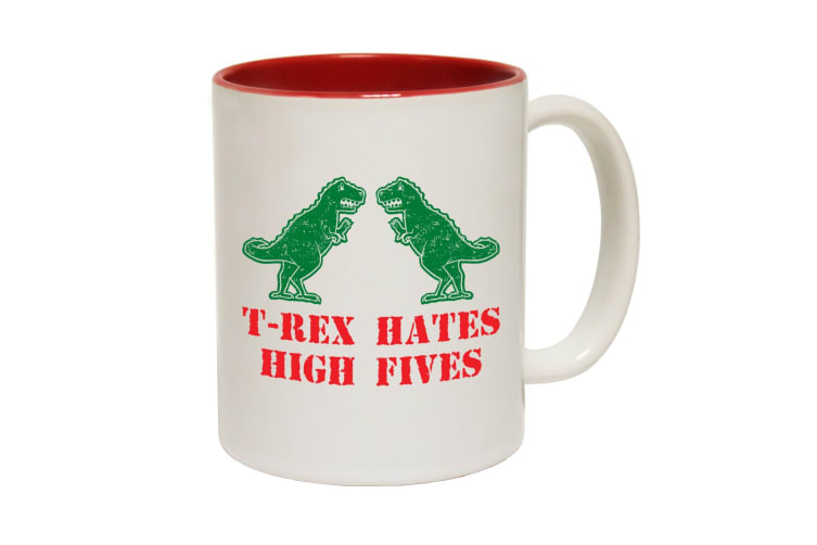 123T Funny Mugs - T Rex Hates High Fives - Red Coffee Cup